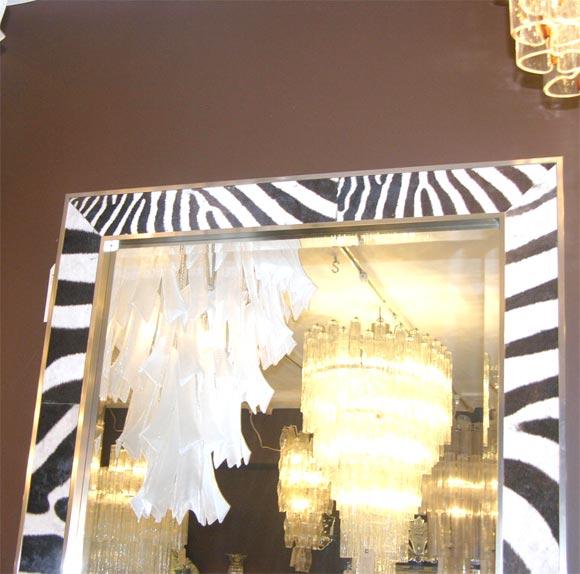Zebra Skin Framed Mirror At 1stdibs