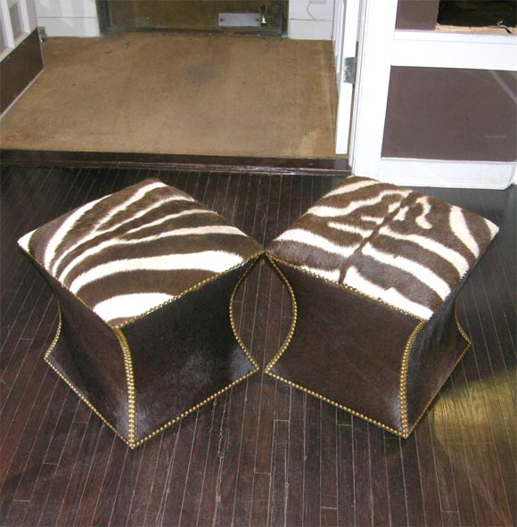 Pair of Zebra Skin and Cowhide Cube Ottomans with Brass Nailheads image 2