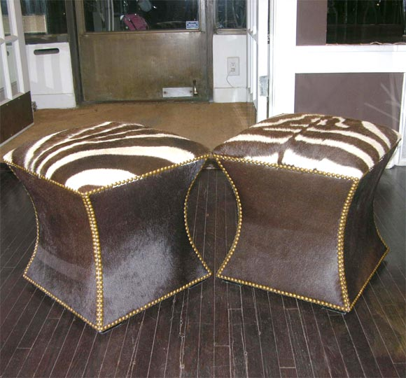 Pair of Zebra Skin and Cowhide Cube Ottomans with Brass Nailheads image 3