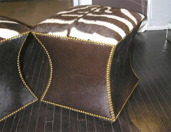 Pair of Zebra Skin and Cowhide Cube Ottomans with Brass Nailheads image 4