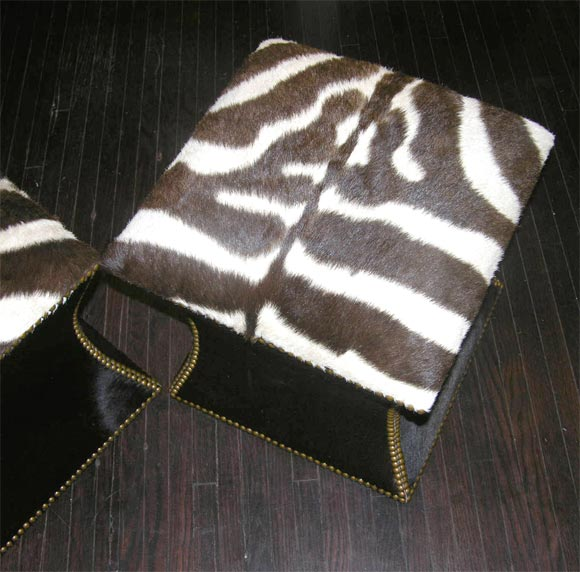 Pair of Zebra Skin and Cowhide Cube Ottomans with Brass Nailheads image 5