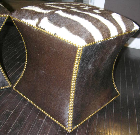 Pair of Zebra Skin and Cowhide Cube Ottomans with Brass Nailheads image 6