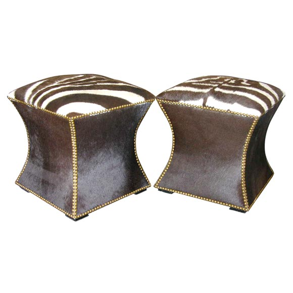 Pair of Zebra Skin and Cowhide Cube Ottomans with Brass Nailheads