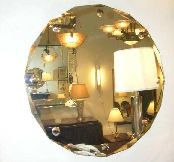 Machine age octagon beveled mirror at 1stdibs for Octagon beveled mirror