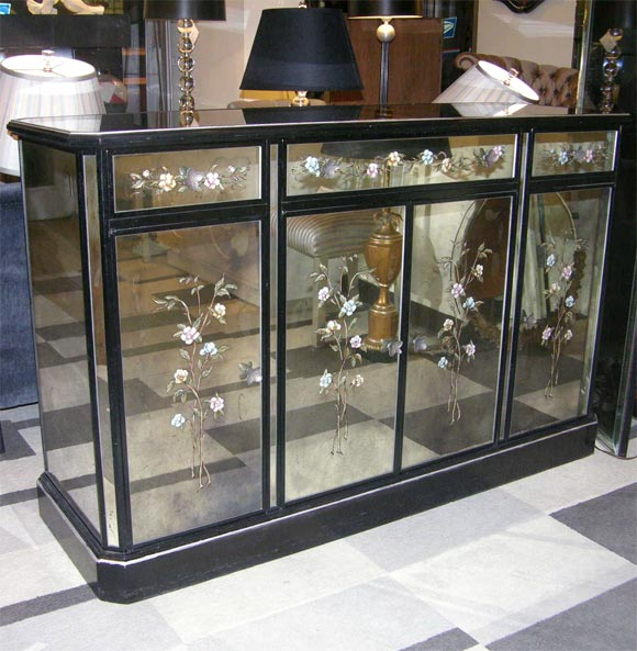 Eglomise And Smoked Mirrored Sideboard Bar Cabinet At 1stdibs