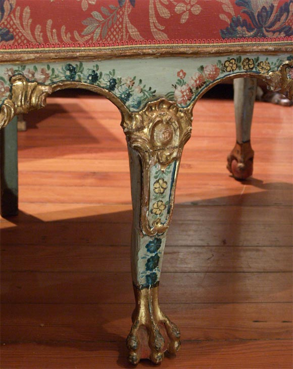 Carved 18th C. Venetian Painted Sofa For Sale