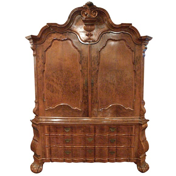Dutch Burl Walnut and Inlaid Kast or Linen Press