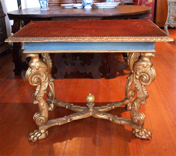 Wonderful 17th century, Italian giltwood console table with silk velvet top (19th century addition, would have always been fabric) Exceptional carving.