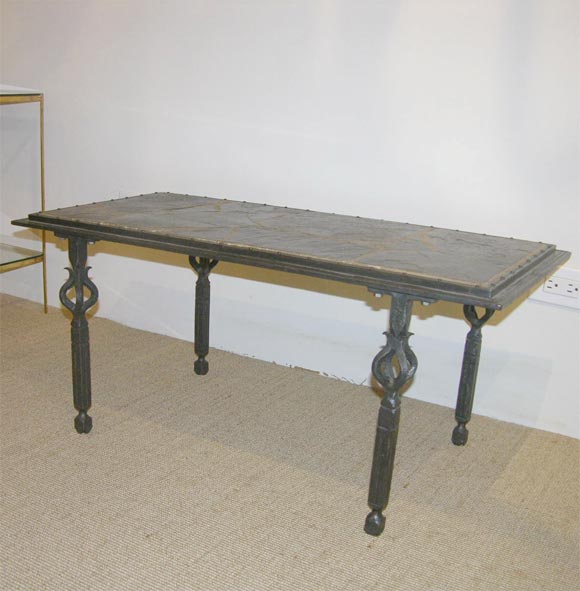 Forged iron coffee table with stone top by marcel for Stone and iron coffee table