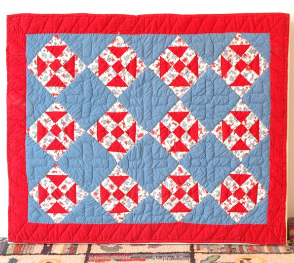 1930s red, white and blue doll quilt in mint condition and wonderful geometries.
