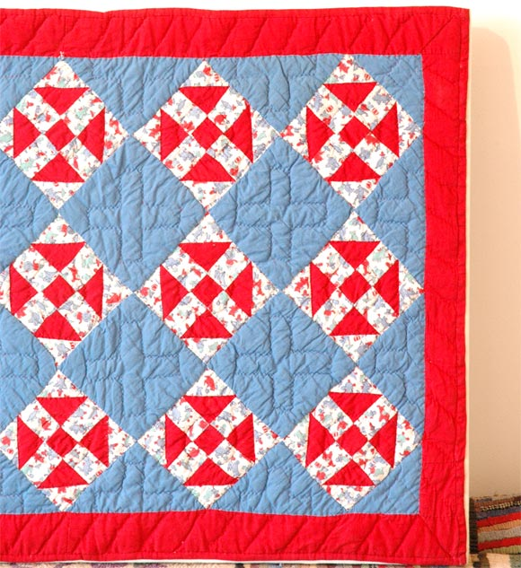Folk Art 1930s Red, White and Blue Doll Quilt For Sale