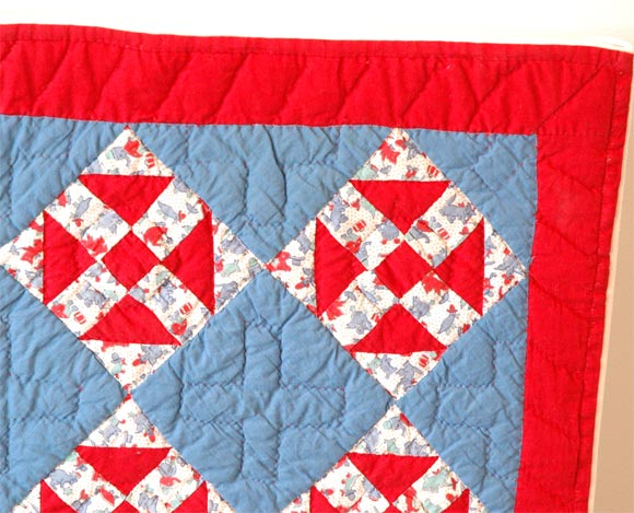 American 1930s Red, White and Blue Doll Quilt For Sale
