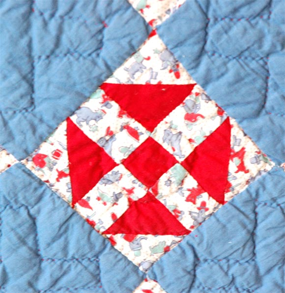Hand-Woven 1930s Red, White and Blue Doll Quilt For Sale