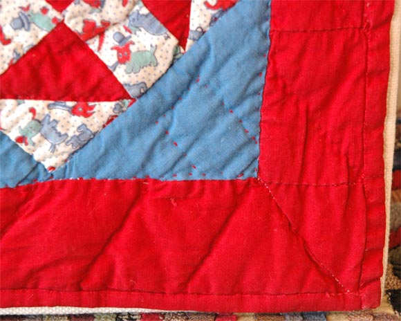 Mid-20th Century 1930s Red, White and Blue Doll Quilt For Sale