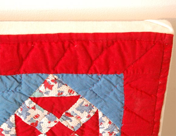Cotton 1930s Red, White and Blue Doll Quilt For Sale