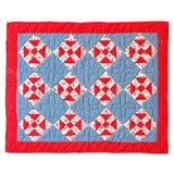 1930s Red, White and Blue Doll Quilt