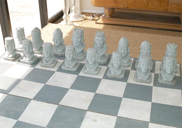 Oversize Concrete Chess Set At 1stdibs