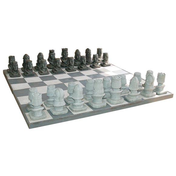 Oversize Concrete Chess Set At 1stdibs