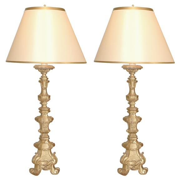 grand scale genovese italian hand carved gilt wood pricket lamps at 1stdibs. Black Bedroom Furniture Sets. Home Design Ideas