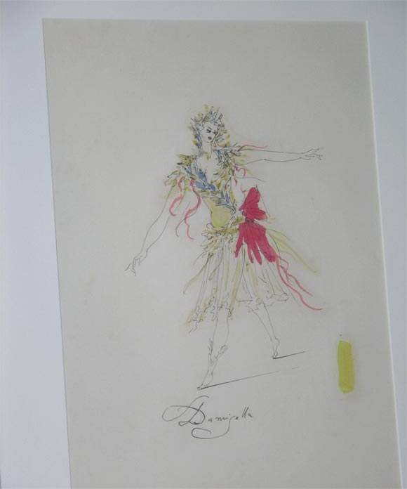 "Two costume drawings for a production of ""L'Incoronazione du Poppea."" Watercolor and ink on paper. Matted and framed in white painted wood with glass.