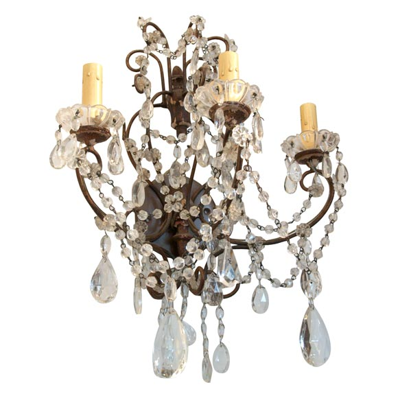 Beaded Crystal Wall Sconces : Italian Crystal Beaded Sconces at 1stdibs