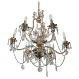Antique metal and crystal 6-light chandelier