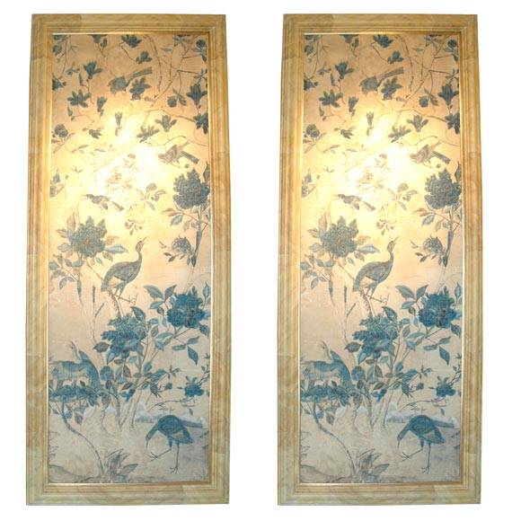 Pair of chinese wall paper panels at 1stdibs for Wallpaper sheets for sale