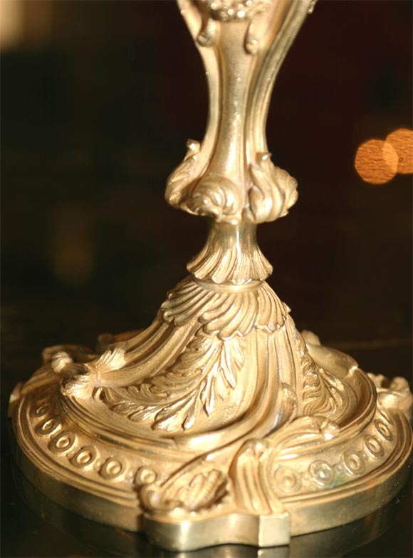 Rococo French Bronze Candlesticks In Good Condition For Sale In Hudson, NY