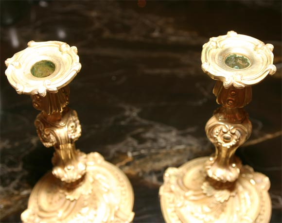 Rococo French Bronze Candlesticks For Sale 1
