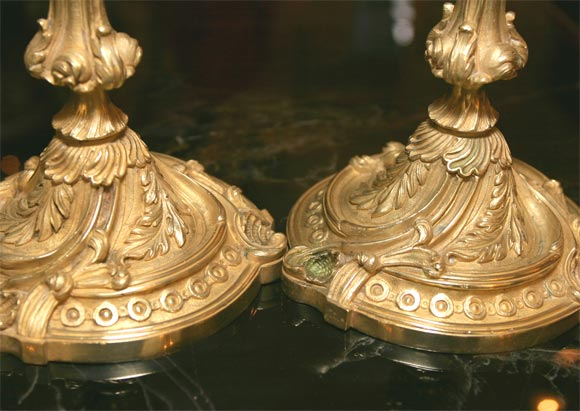Rococo French Bronze Candlesticks For Sale 3