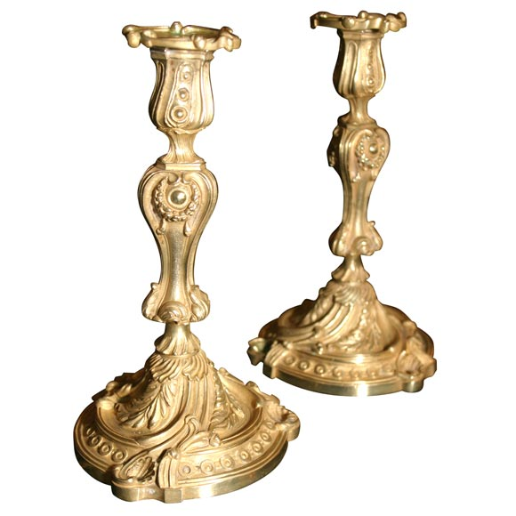 Rococo French Bronze Candlesticks For Sale