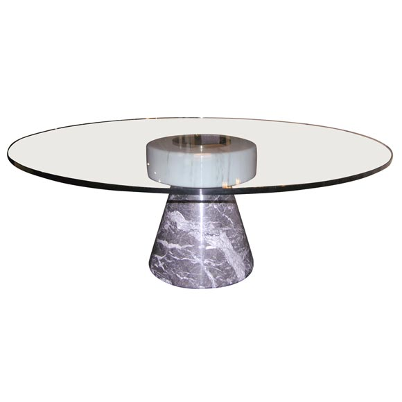 Coffee Table Bases For Marble Tops: Coffee Table With Marble Base And Glass Top By Giotto