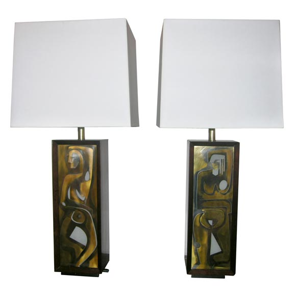 A Pair Of Modernist Table Lamps With Abstract Male And Female For Sale At 1stdibs