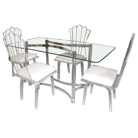 Lucite Dining Table And 4 Chairs At 1stdibs
