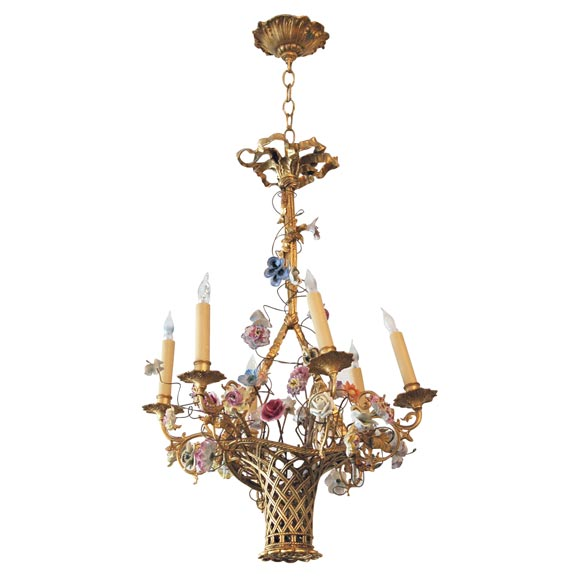 French bronze basket chandelier with porcelain flowers at 1stdibs aloadofball Choice Image