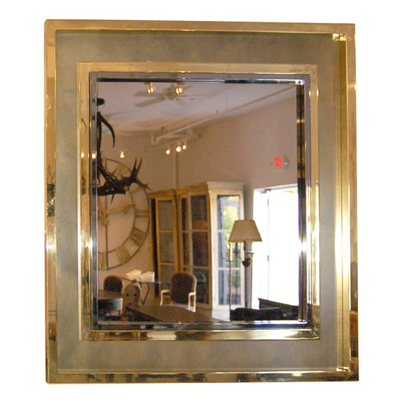 Large square brass and chrome mirror at 1stdibs for Large square mirror