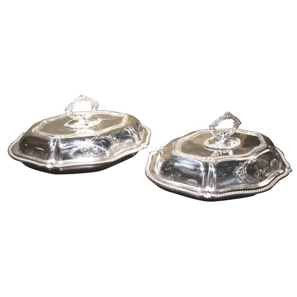 Pair of Sheffield Serving Dishes For Sale