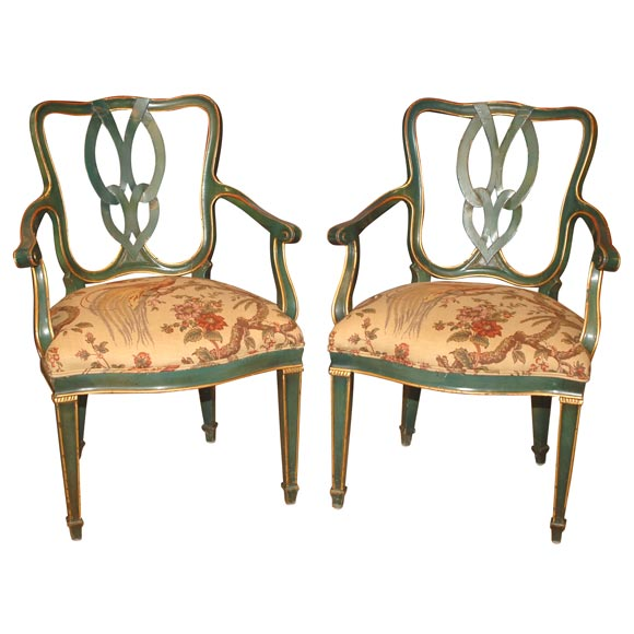 Pair of Hollywood Regency Emerald and Gilt Armchairs, Italy, circa 1950