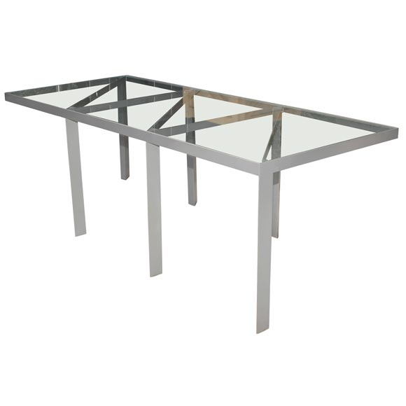 Metal And Glass Dining Table At 1stdibs