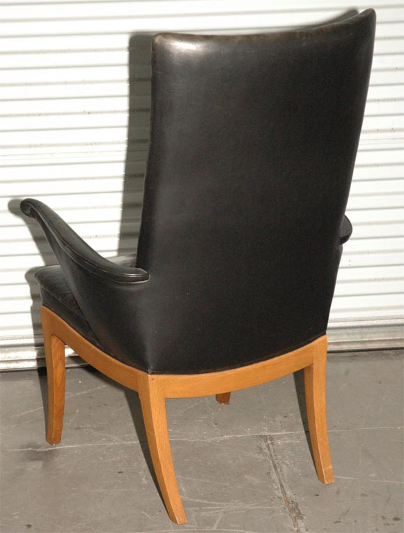 pair of frits henningsen black leather easy chairs at 1stdibs
