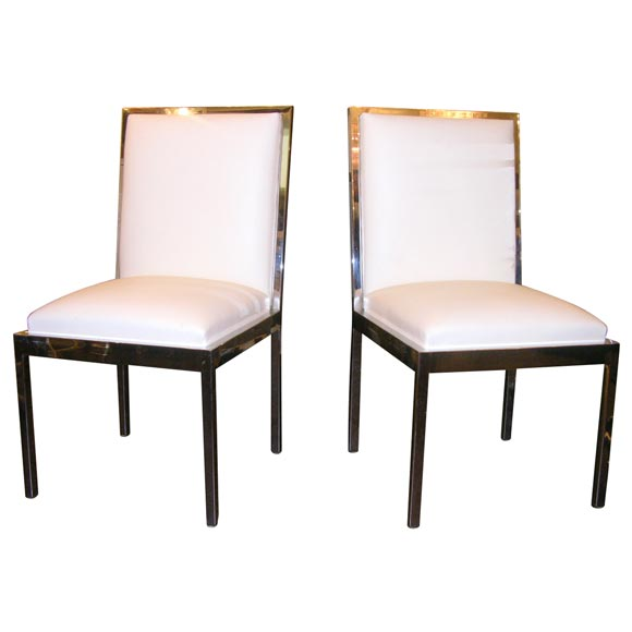 Set of 8 chrome and white leather dining chairs at 1stdibs for White leather and chrome dining chairs