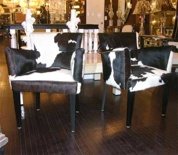 Pair Of Custom Black And White Spotted Cowhide Deco Chairs 2