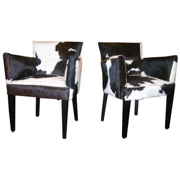 Attirant Pair Of Custom Black And White Spotted Cowhide Deco Chairs For Sale