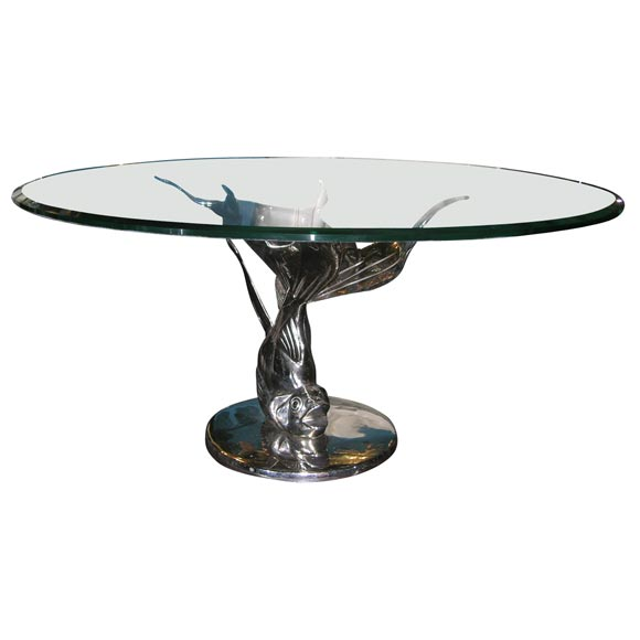 Nickel Plated Goldfish Cocktail Table At 1stdibs