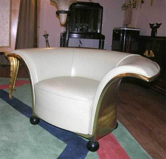 Mid-20th Century Pair of Spectacular French Art Deco Armchairs For Sale