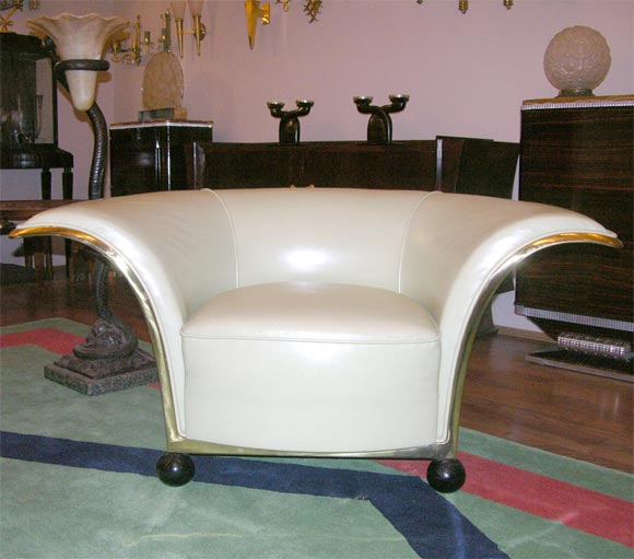 Brass Pair of Spectacular French Art Deco Armchairs For Sale