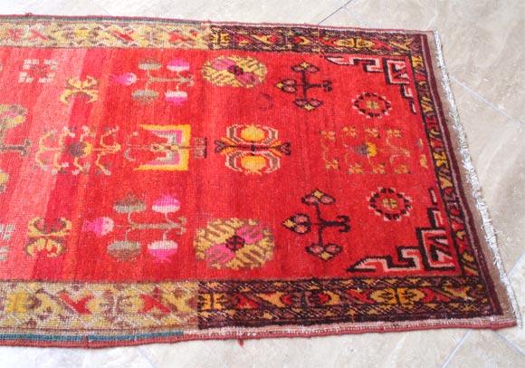 Wool Antique Khotan Runner For Sale