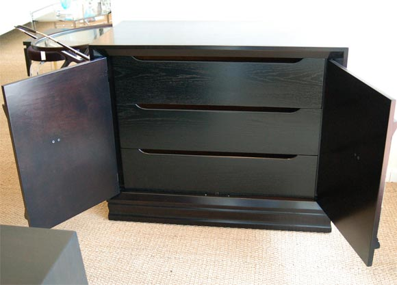 Ebonized Cabinet With Reverse Painted Glass At 1stdibs