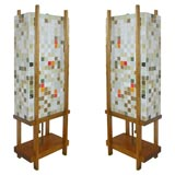 Pair of Mosaic Glass Lamps
