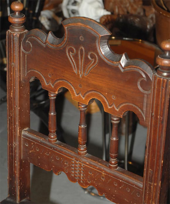 Pine Set of Four Carved Dining Side Chairs, Spanish Colonial, Early 19th Century For Sale